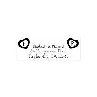 Rustic Couple Hearts | Wedding Return Address Self-inking Stamp