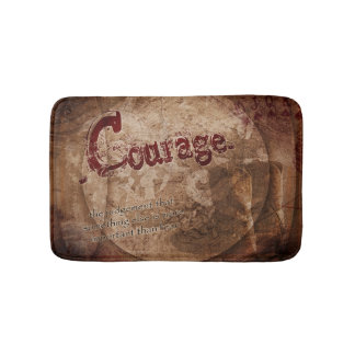 Rustic Courage Quote Bath Mat