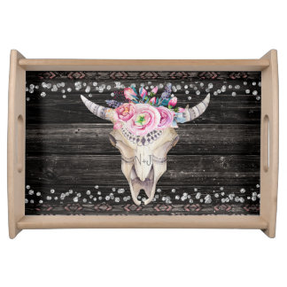 Rustic Cow Skull & Wood Floral Country Chic Serving Tray