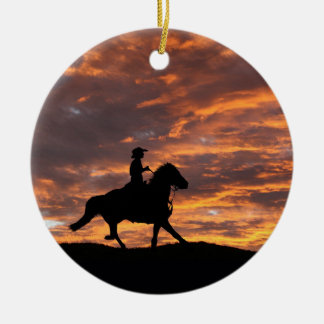 Rustic Cowboy and Horse Christmas Ornament