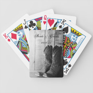 Rustic Cowboy Boots Country  Western Wedding Bicycle Playing Cards