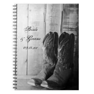 Rustic Cowboy Boots Country Western Wedding Notebooks