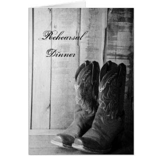 Rustic Cowboy Boots Wedding Rehearsal Dinner Card