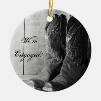 Rustic Cowboy Boots Western Engagement Round Ceramic Ornament
