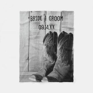 Rustic Cowboy Boots Western Wedding Fleece Blanket