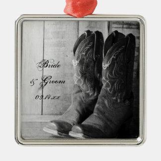 Rustic Cowboy Boots Western Wedding Metal Ornament