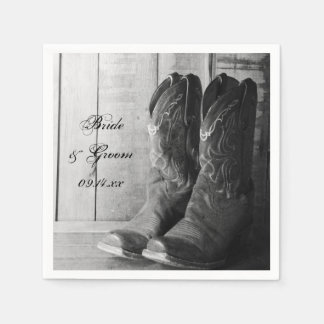 Rustic Cowboy Boots Western Wedding Paper Napkin