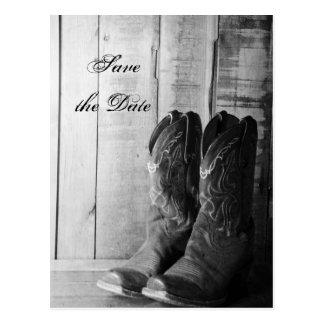 Rustic Cowboy Boots Western Wedding Save the Date Postcard