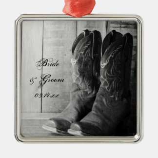 Rustic Cowboy Boots Western Wedding Silver-Colored Square Ornament