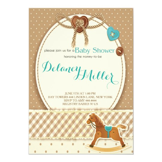 Rustic Cowboy Horsey Baby Shower Boy Invitations