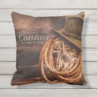 Rustic Cowboy Western Throw Pillow
