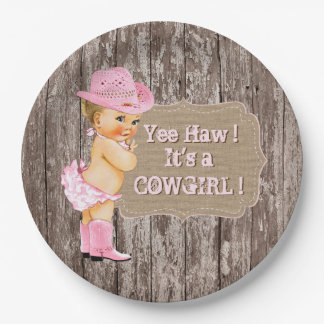 Rustic Cowgirl Baby Shower 9 Inch Paper Plate
