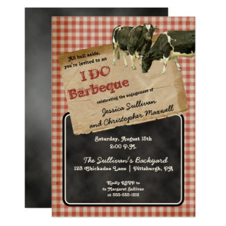 Rustic Cows Backyard I DO BBQ Engagement Party Card