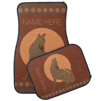 Rustic Coyote Southwest Faux Leather Custom Car Carpet