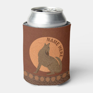 Rustic Coyote Southwest Faux Leather Design Can Cooler