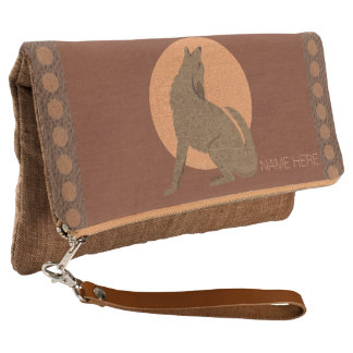 Rustic Coyote Southwest Leather Desert Wildlife Clutch