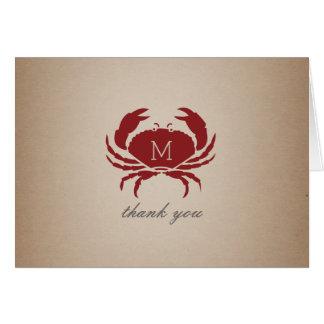 Rustic Crab Monogram Cardstock Inspired Thank You Card