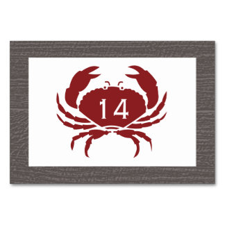 Rustic Crab Wedding Table Number Card Table Card