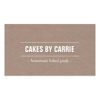 Rustic Craft Cardboard II Bakery/Catering/Chef Business Card