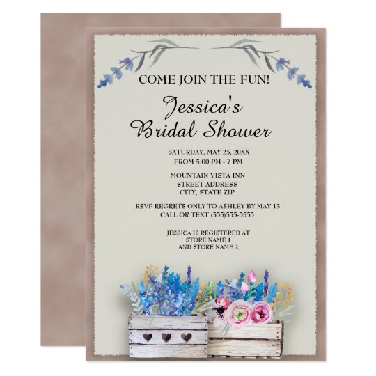 Rustic Crates of Lavender Bridal Shower Card