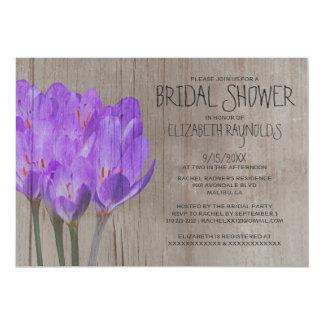 Rustic Crocus Bridal Shower Invitations