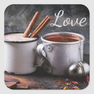 Rustic Cup of Tea and Hot Chocolate in Love Square Sticker