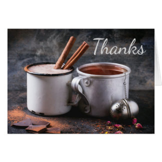 Rustic Cup of Tea and Hot Chocolate Thank You Card