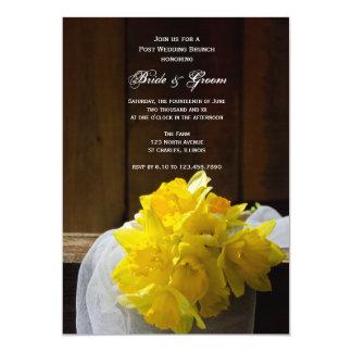 Rustic Daffodils and Barn Wood Post Wedding Brunch Card