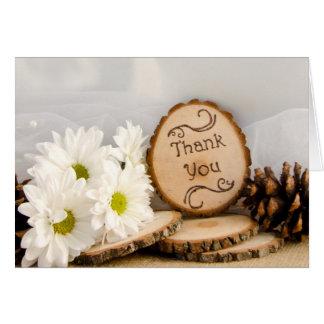 Rustic Daisies Woodland Wedding Thank You Card