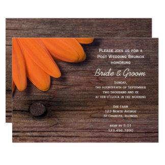 Rustic Daisy Barn Wood Post Wedding Brunch Invite