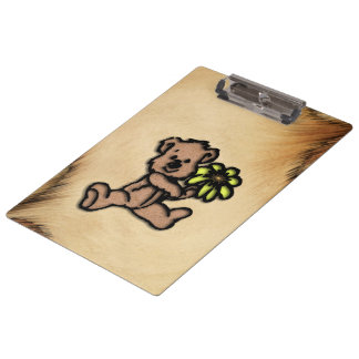 Rustic Daisy Bear Design Clipboard