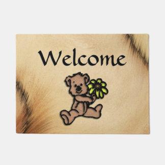 Rustic Daisy Bear Design Doormat