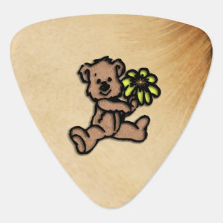 Rustic Daisy Bear Design Guitar Pick