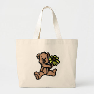 Rustic Daisy Bear Design Large Tote Bag