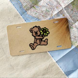 Rustic Daisy Bear Design License Plate