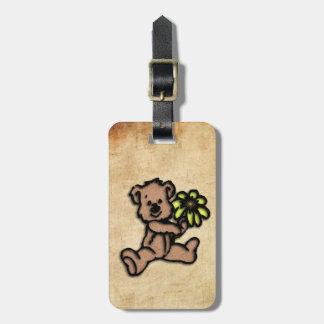 Rustic Daisy Bear Design Luggage Tag