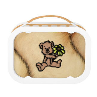 Rustic Daisy Bear Design Lunch Box