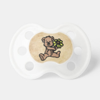 Rustic Daisy Bear Design Pacifier