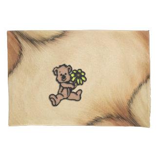 Rustic Daisy Bear Design Pillowcase