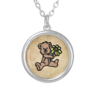 Rustic Daisy Bear Design Silver Plated Necklace