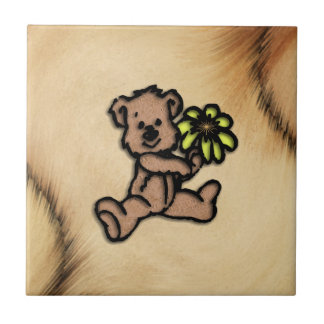 Rustic Daisy Bear Design Tile