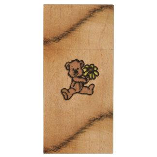 Rustic Daisy Bear Design Wood USB 2.0 Flash Drive