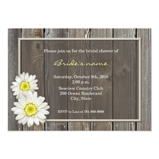 Rustic Daisy Wedding Invitations: Rustic Daisy Bridal Shower Invitations