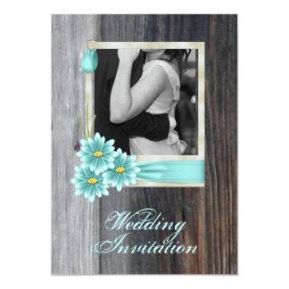 rustic daisy western country vintage wedding card