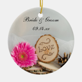 Rustic Daisy Woodland Wedding Bridesmaid Thank You Ceramic Ornament