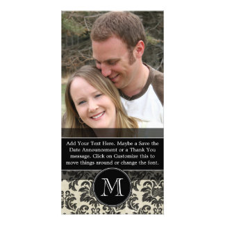 Rustic Damask Pattern in Black and Parchment Personalized Photo Card
