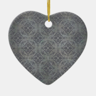 Rustic Damask Pewter Steel Grey Ceramic Ornament