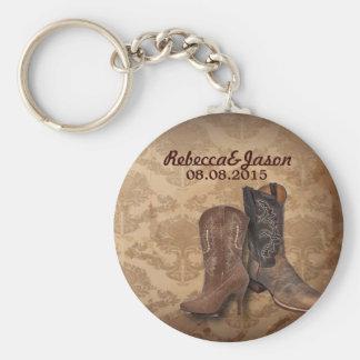 rustic damask Western Cowboy wedding favor Basic Round Button Keychain