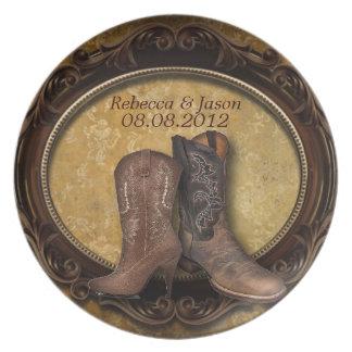 rustic damask Western Cowboy wedding Plate