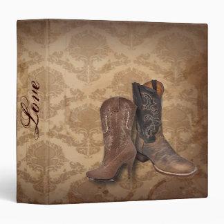 rustic damask Western Cowboy wedding Vinyl Binders